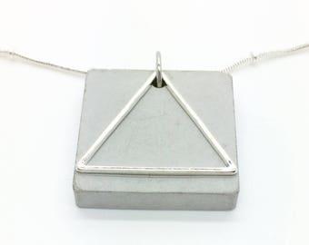 Concrete jewelry, pendant, chain pendant, chain, geometric chain, gift for women