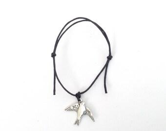 SWALLOW Friendship Bracelet - Black Cord - Nautical Sailor