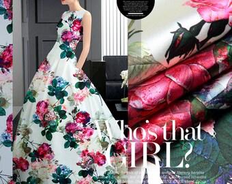 Elegant Flower Silk Fabric By The Yard Floral Silk Printed Fabric Stretch Silk Satin Fabric Fashion Dress Fabric Clothing Fabric-MEIGUI