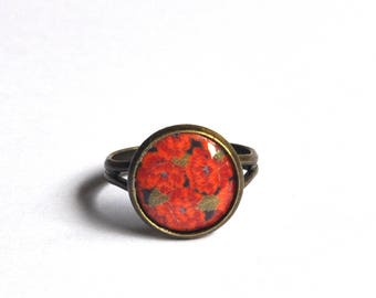 Red vintage and retro flowers ring, antique bronze ring