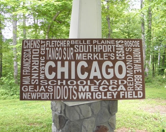 Chicago Subway Art Sign, Custom Chicago sign, personalized subway art sign, Typography sign, housewarming or wedding gift