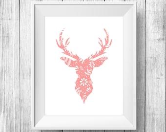 Salmon Color Floral Deer Head Print, Deer art poster, Deer Printable Art, Deer artwork, Deer art print, modern wall art