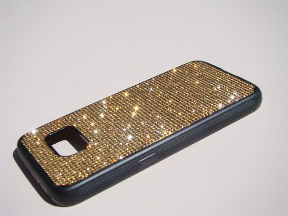 Galaxy S7 Case Gold Topaz Crystals on Black Rubber Case. Velvet/Silk Pouch Bag Included, Genuine Rangsee Crystal Cases.