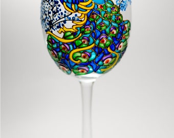 Peacock Wine Glasses, 1st Wedding Anniversary Gift, Party Glasses, Hand Painted Wine Glasses, Peacock Wedding Gift, Bride Blue Gift