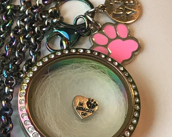 Rainbow bridge pet loss add your own fur rainbow locket - pet memorial