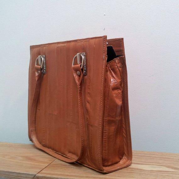 Vintage Style Genuine Tan Eel Leather Handbag