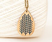 Stitched Necklace - DIY Kit - Blackwork style embroidery