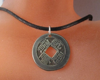 mens coin  jewelry CHINESE CASH COIN Necklace china Charm. 1800  -  antique coin No.00829 -1