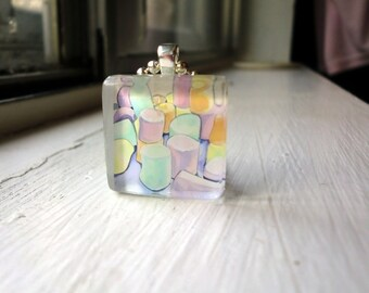 Colorful Marshmallows Necklace, Glass Tile Pendant Necklace, Wearable Watercolor Art