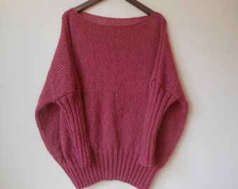 Oversized Plus Size Hand Knit Sweater Tunic Loose Knit Women's Sweater Coral/Pink