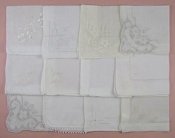Vintage Hanky Lot,Wedding Hanky Lot,One Dozen White Wedding Vintage Hankies Handkerchiefs  (Lot #97)