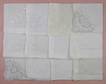 Vintage Hanky Lot of One Dozen White Wedding Vintage Hankies Handkerchiefs  (Lot #97)