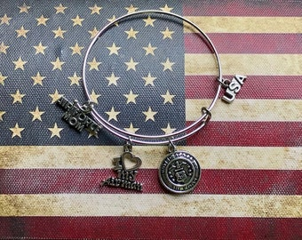 Air Force Mom Expandable Stainless Steel Bangle Air Force inspired Badge Opens Bracelet Military Jewelry