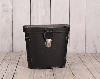 Binocular case, Leather binocular case, Black binocular case, Spy glasses case, Black case, Hard case, Field case, Travel binocular bag