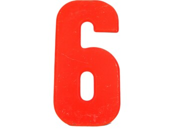 """7 1/2"""" Vintage Metal Number 6 - Red Orange Marquee Signage Number Sign Birthday Numbers - House Number Outdoor - Kid's Party Decor Sports"""
