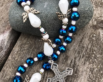 Blue Angel Protestant Anglican Prayer Beads