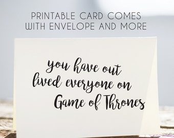 game of thrones birthday card, game of thrones printable card, game of thrones card, game of thrones download