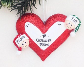 2 Happy Faces Around a Heart / Engaged Couple Personalized Christmas Ornament / Engagement / Mommy and Me / Valentines