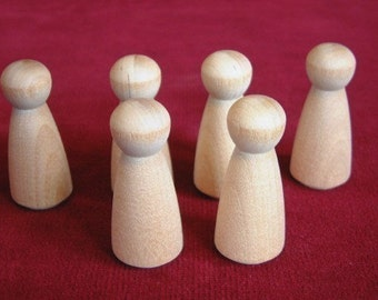 6 No. 2 Small Angel or Girl Doll Peg Unfinished Hardwood