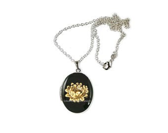 Lotus Flower Locket Inlaid in Hand Painted Black Enamel Zen Inspired Necklace with Personalized and Color Options