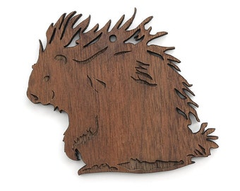 Porcupine Ornament - Made in the USA with sustainably harvested wood! - Timber Green Woods.