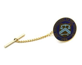 Vintage 1960s US Customs Department Tie Tac Pin Goldtoned Metal Blue Enamel