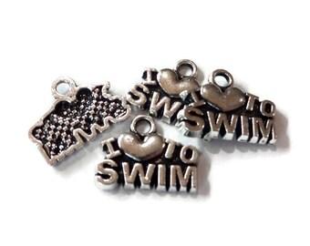 4, I Love To Swim Heart Charms 15x12mm