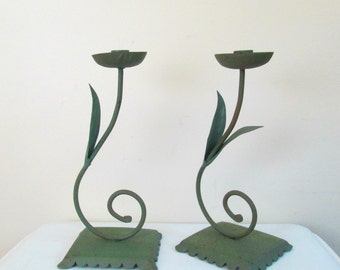 Cottage Chic Green Metal Candleholders // Vintage Shabby Home Garden Candle Holders