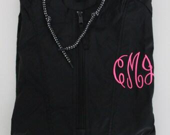 Monogrammed Rain Jacket, Monogrammed Quarter Zip Rain Jacket Pullover, Monogrammed Rain Coat, Packable Jacket, Monogrammed Packable Jacket