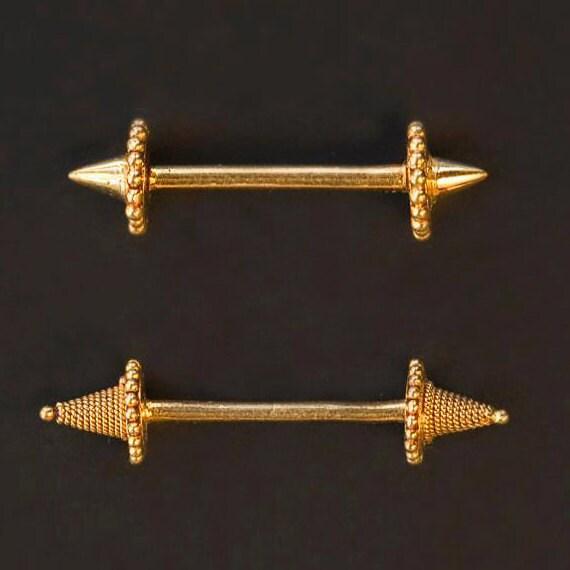 Gold Nipple Barbell Nipple Piercing Jewelry 17 Gauge Nipple