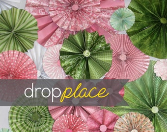 Backdrop Pinwheel Rosettes Green and Pink Palette Photo Background (Material and Size Options Available)