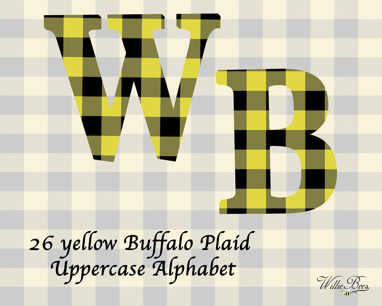 Yellow Buffalo Plaid Uppercase Alphabet Letters Clip Art