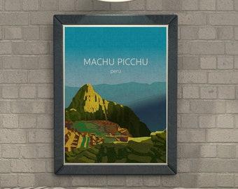 Machu Picchu, PERU, Illustration, PRINTABLE Art, Digital Download Printable, Image For Wall Decoration, Prints