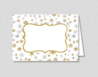 Silver & Gold Snowflake Food Tent Cards, Blank Winter Food Labels, Shower Place Cards, Gold Glitter, DIY Printable, INSTANT DOWNLOAD