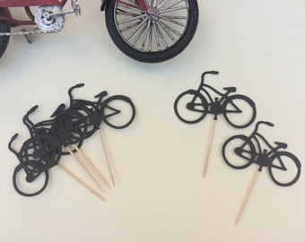 Set of 12 Bicycle Cupcake Toppers