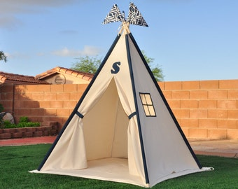 Navy Canvas Kids Teepee, Kids Play Tent, Childrens Play House, Tipi,Kids Room Decor