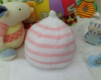 Baby Pink and white knitted hat for newborn baby gift