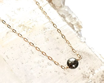 Delicate Pyrite Necklace- Pyrite Dot Necklace - Petite Necklace -Pyrite and Gold- Two Tone Necklace- bridesmaid gift- GIFT for Her