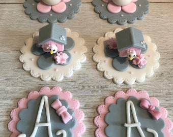 Set of 12 Fondant Cupcake Toppers - Bird Birthday Party - Baby Shower