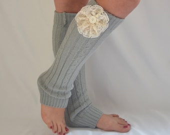 Leg warmers women-Gray cable knit button leg warmers-Boot cuffs-Knee high socks-Lace cuffs-Hippie socks-Women leggings-Boot covers