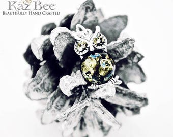 "Baltic Green Amber Owl set in Sterling Silver on 925 18"" Sterling Silver Necklace"