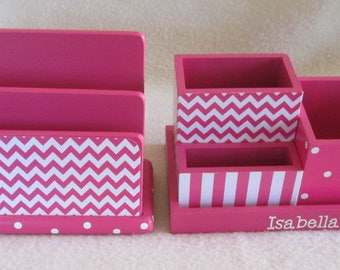 Personalized Desk Organizer and Bill Sorter - Letter Sorter - Pencil Holder Set - Pink Chevron,  Polka Dot, Pink Stripe- Decoupaged - Gift