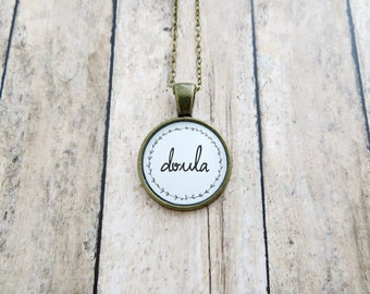 Doula Handcrafted Pendant Necklace - Silver, Antique Brass, or Copper