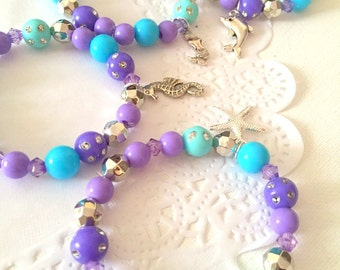 SET of TEN, Under the sea, beaded bracelet, party favor, kids birthday party favor, children jewelry, mermaid party.
