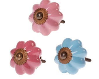 Ceramic Vintage Style Drawer Knob Blue Or Pink Floral Pastel Country Charm
