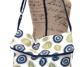 Crossbody Fold Over Bag / Shoulder Bag / Cross body Bag / Cross bodyTote Bag /  Cross body Purse / Handbag /    Navy Blue and Green