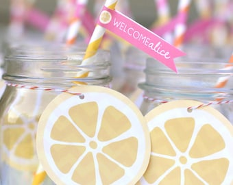 Printable lemon drink tag - Sunshine and Lemonade party - You are my sunshine  - Shower - Birthday party - Customizable