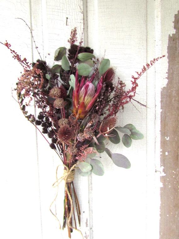 Dried Flower Bouquet Exotic Protea Wedding Arrangement Bridal
