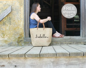 Personalized Bridesmaid Gift | Rustic Bridesmaid Tote | Monogrammed Hand Bags for Bridesmaids | Overnight Shoulder Bag for Bridesmaids