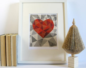 Red and White Geometric Heart Art - Book Paper Collage - Story Reconstructed No29 - Metallic Silver Modern Wall Decor - Modern Home Decor
